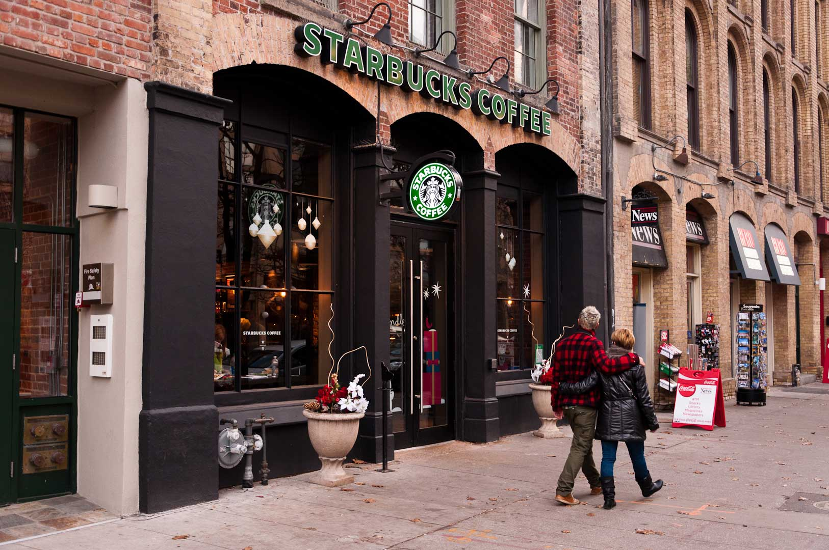 Starbucks Storefront With Hidden Automatic Door Opener by Explore1.ca Toronto