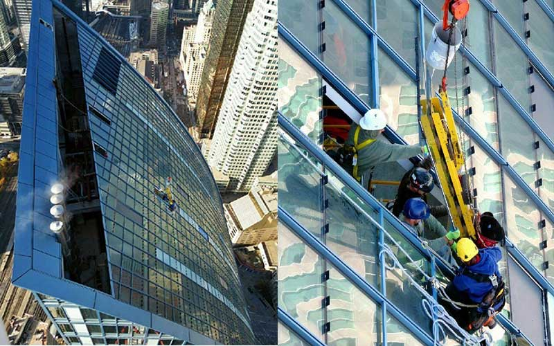 Explore1.ca is Toronto's trusted glazing contractor. In this photo Explore1.ca is installing an IG unit on the top of sky scraper in downtown Toronto. Taking care to do it correctly, just like when we install automatic doors, automatic sliding doors, automatic swing doors, jumbo glass and glazing, doors and building entrances to make sure we do it well, on time and safely. Explore1.ca is Toronto's best Door installation company as we subscribe to Contractor Check, ISN, IHSA and Comply Works.
