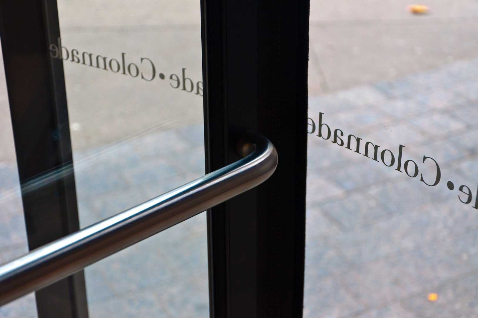 Tight Shot of Colonnade Revolving Door Hardware maintained by Explore1.ca