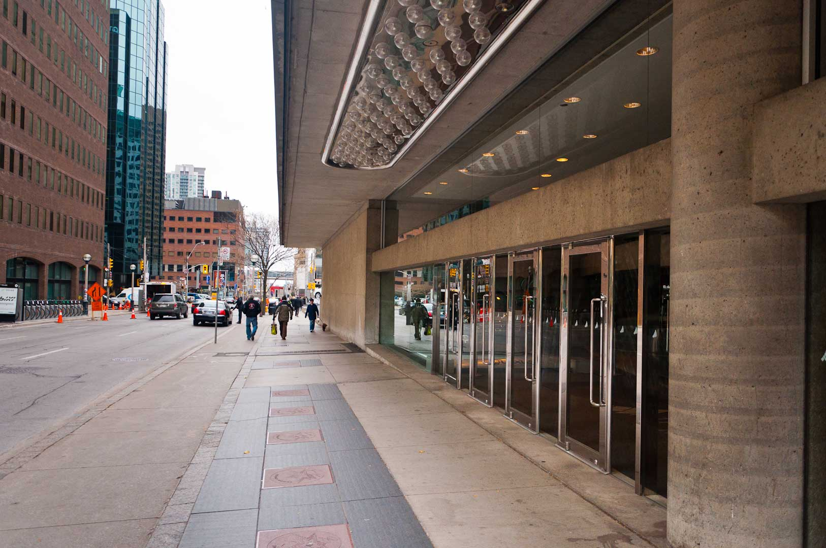 Day Time View of Theatre Entrance Doors Maintained by Explore1.ca Stainless Steel and Glass Doors