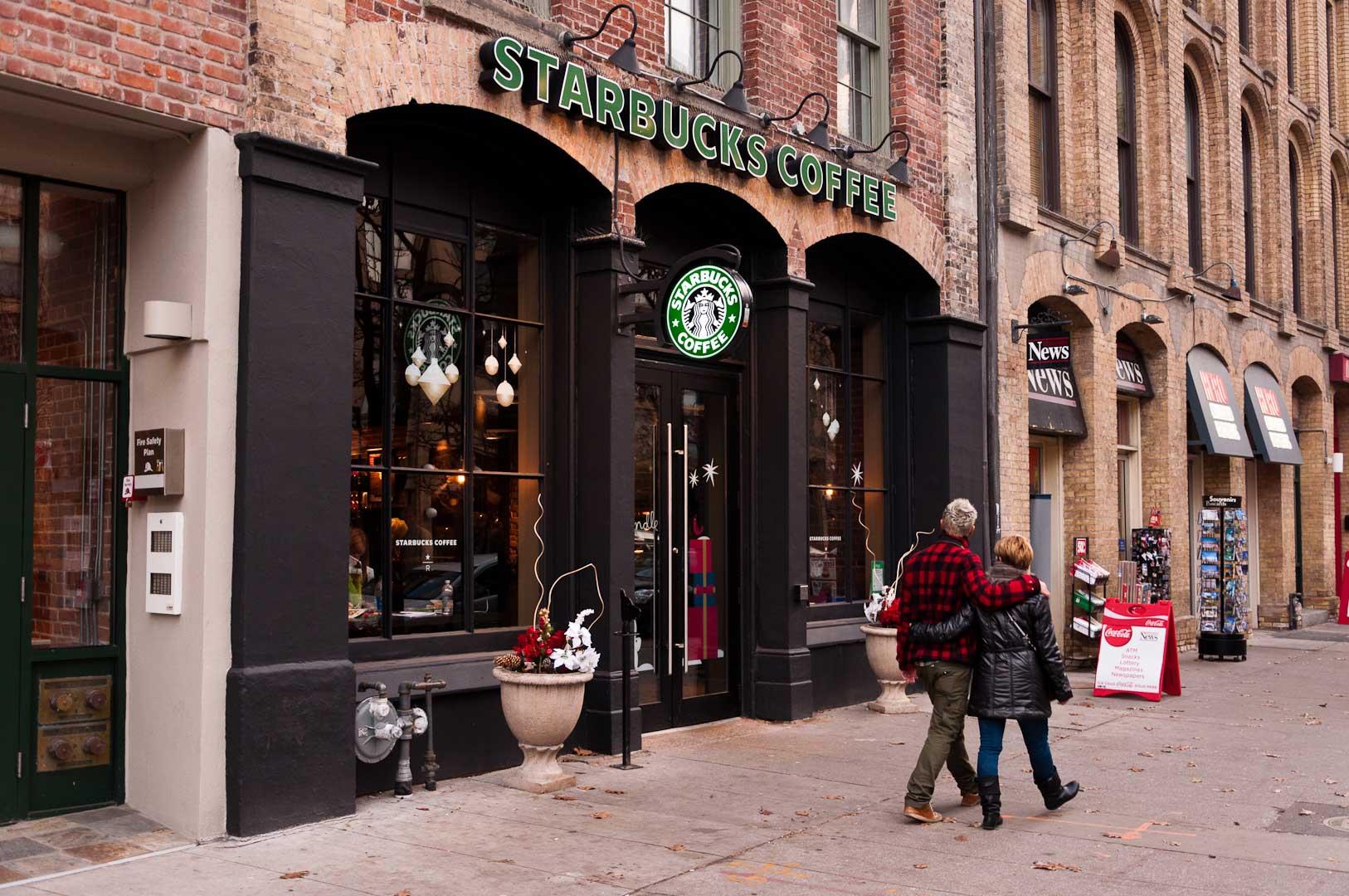 Starbucks Storefront With Hidden Automatic Door Opener by Explore1.ca Toronto