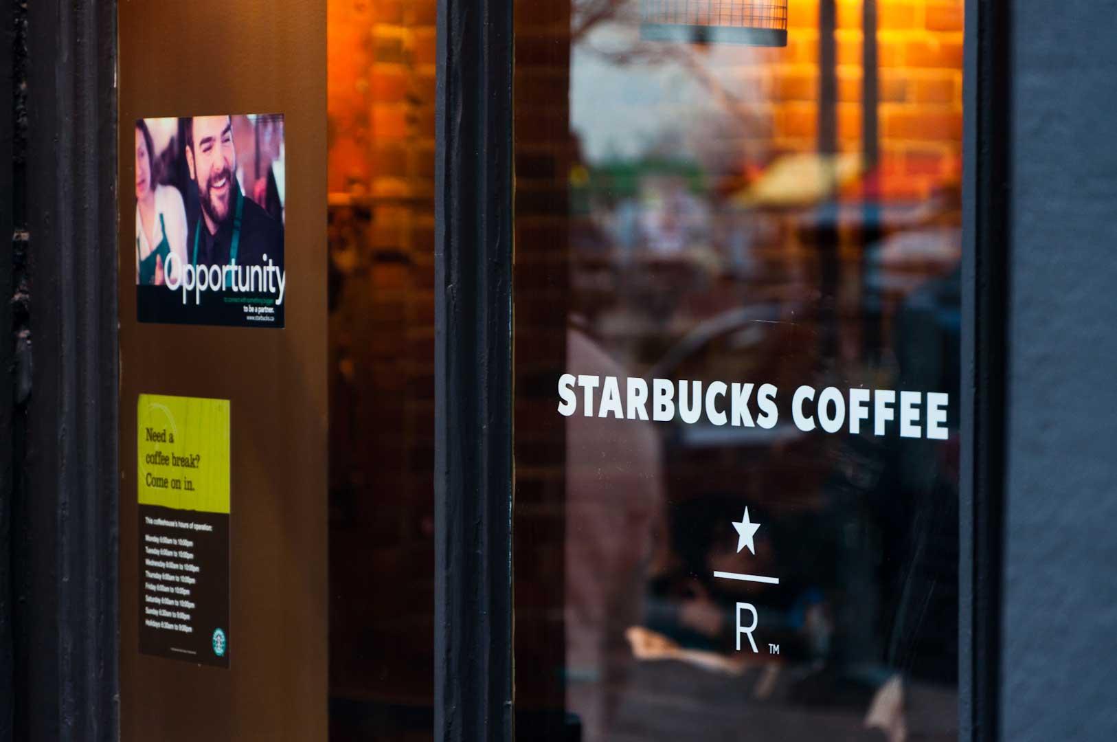 Explore1.ca Window Work in Starbucks Toronto Location