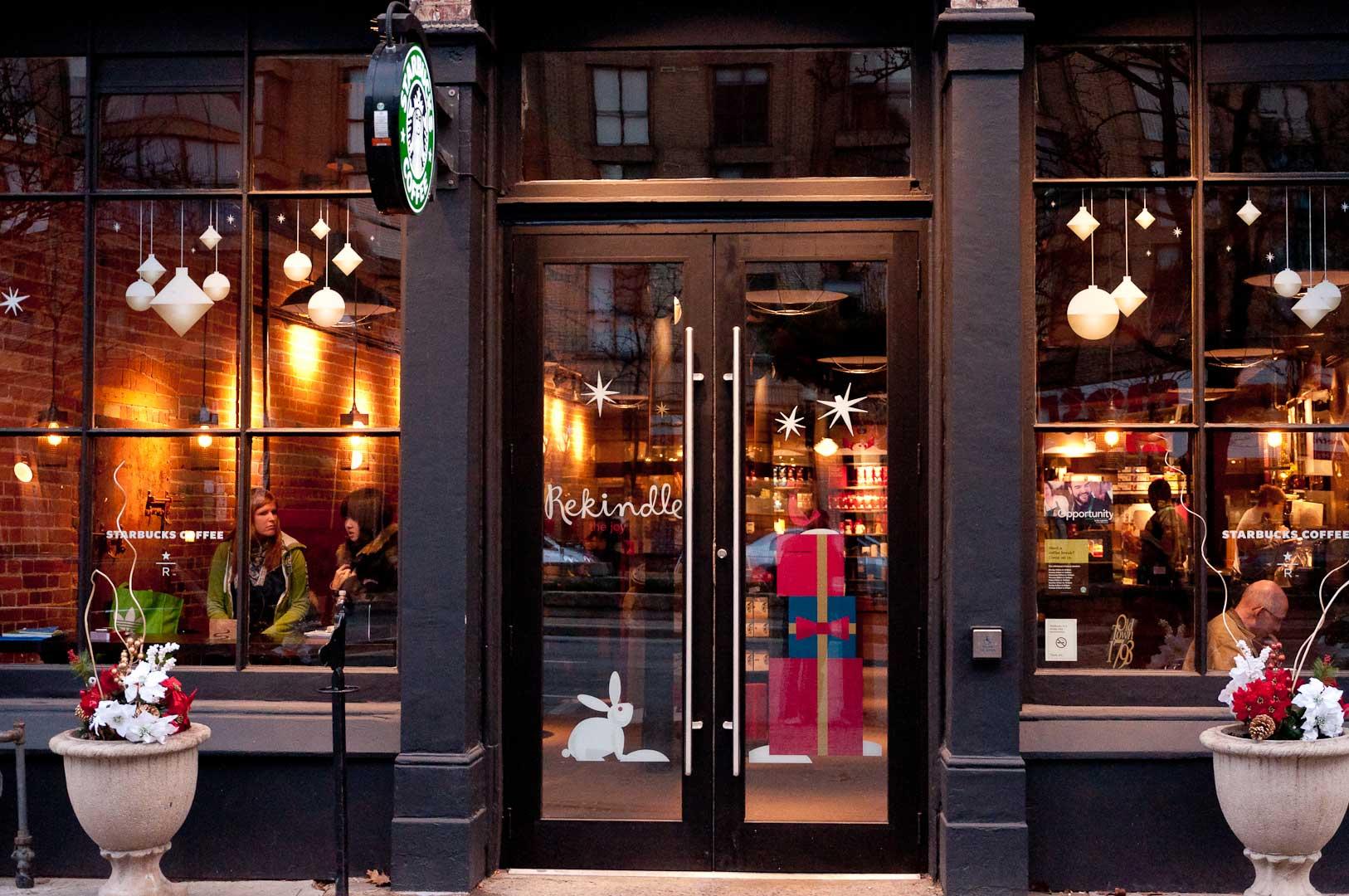 Coffee Shop Facade Installation by Explore1.ca Starbucks Entrance with Automatic Door